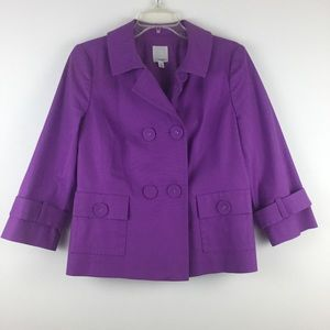 Halogen Purple Knit Lined Peacoat Jacket M